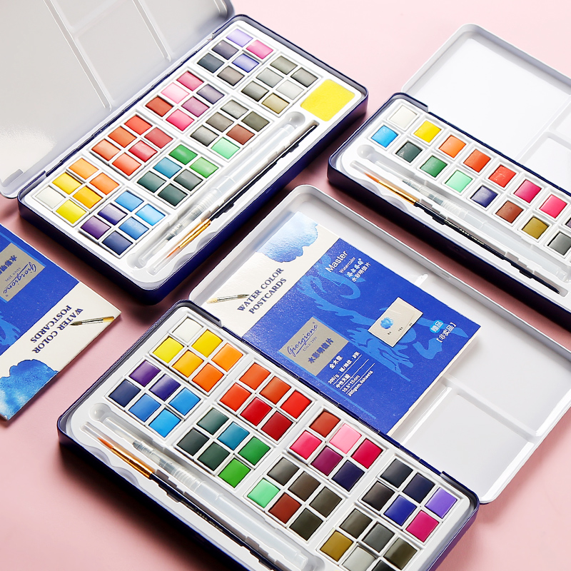 18/24/36/48 Colors Solid Water Color Paint Set Metal Iron Box Watercolor Painting Pigment Pocket Set For Drawing Art Supplies