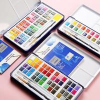 18/24/36/48 cores conjunto de pintura de cor de água sólida metal ferro caixa aquarela pigmento pintura bolso conjunto para desenhar fontes da arte Water Color     -