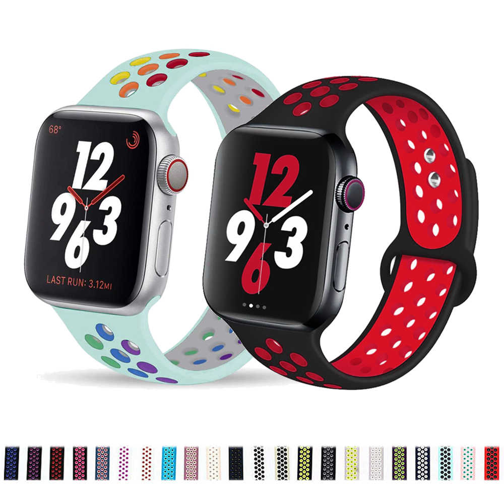 Silikon tali Untuk Apple watch band 44mm/40mm iWatch band 42mm/38mm Sport gelang tonton serie 5 4 3 2 1 38 40 42 44mm