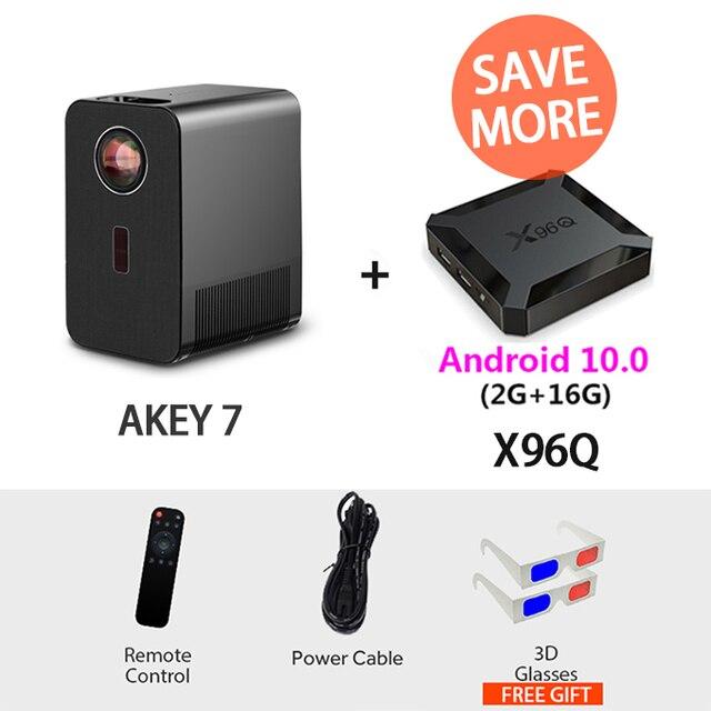 AUN AKEY7 1080p + Bag + X96Q Android 10 2Gb 16Gb TV Box