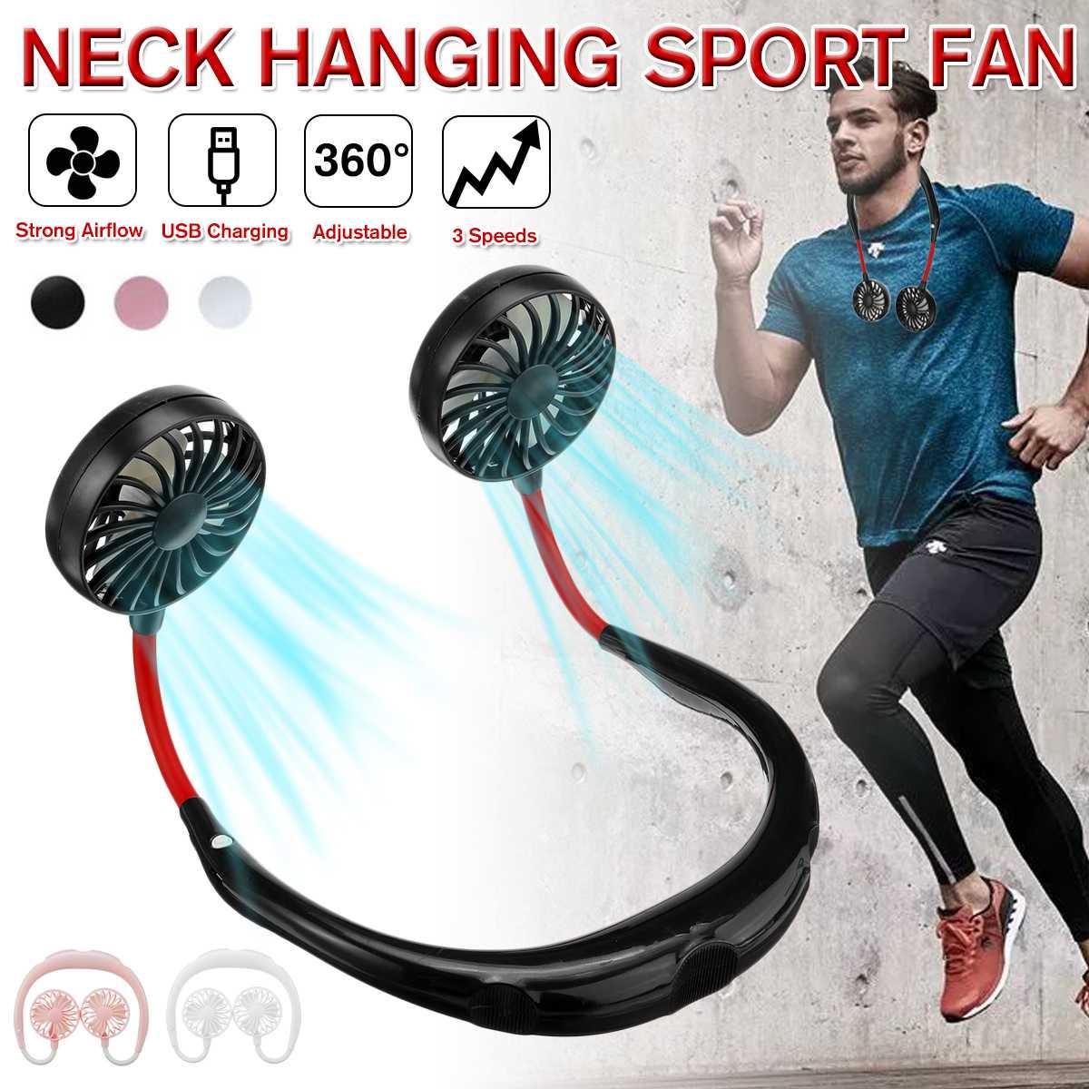 NEW 360° Adjustment USB Portable Fan Hands-free Neck Fan Hanging Rechargeable Mini Sports Fans 3 Gears Wearable Sport Fan