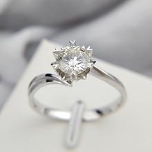 คลาสสิก 925 เงินสเตอร์ลิง 1ct 2ct 3ct ตัดรอบสดใสตัด Moissanite แหวนแหวนเพชรหมั้นแหวน