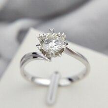 Clásico 925 Plata de Ley 1ct 2ct 3ct redondo corte brillante anillo de joyería de diamante anillo de compromiso anillo de aniversario