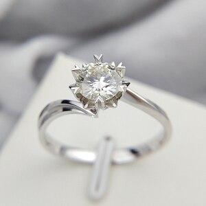 Image 1 - Klasyczne 925 sterling silver 1ct 2ct 3ct okrągły Brilliant Cut pierścień Moissanite diament biżuteria pierścionek zaręczynowy pierścionek jubileuszowy