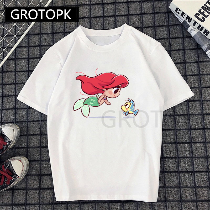 Summer Female Fashion Harajuku Large Size Princess Ariel  Prints Fun Short-sleeved T-shirt Tops Tees New Cartoon O-Neck T-shirt