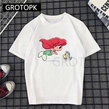 Summer Female Fashion Harajuku Large Size Princess Ariel Prints Fun Short-sleeved T-shirt T