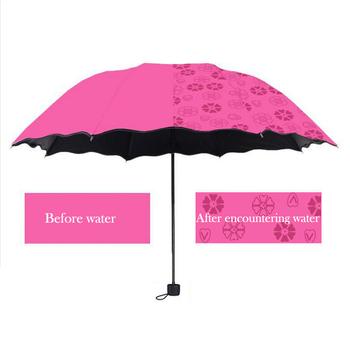 Damskie parasolki przeciwsłoneczne kwiaty w wodzie zmienia kolor parasol potrójny krotnie czarna guma krem przeciwsłoneczny UV kobieta parasole tanie i dobre opinie Słoneczne i deszczowe parasol 190 t nylon fabric Czarna powłoka Nie-automatyczny parasol Składane Dorosłych Trzy składane parasol