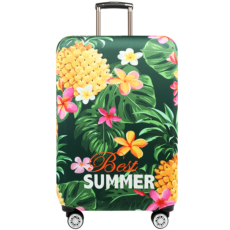 Luggage Protective Covers with White Plumeria Washable Travel Luggage Cover 18-32 Inch