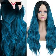 Длинные волнистые парики FAVE Ombre черного и синего цвета без челки, синтетические волосы для косплея, сменные термостойкие парики для черно-бе...