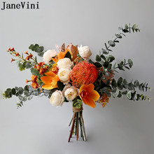 Bridal-Bouquet Artificial-Flowers Rose Janevini Autumn Eucalyptus Vintage
