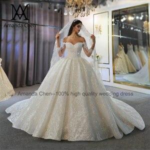 Image 3 - abendkleid Off Shoulder Long Sleeve Lace Wedding Dress 2020