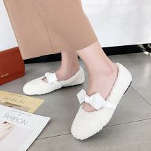 Round Toe Slip On Shoes For Women 2019 Fashion Women's Autumn Flats Casual Female Sneakers Loafers Fur Bow-Knot Slip-on Modis(China)