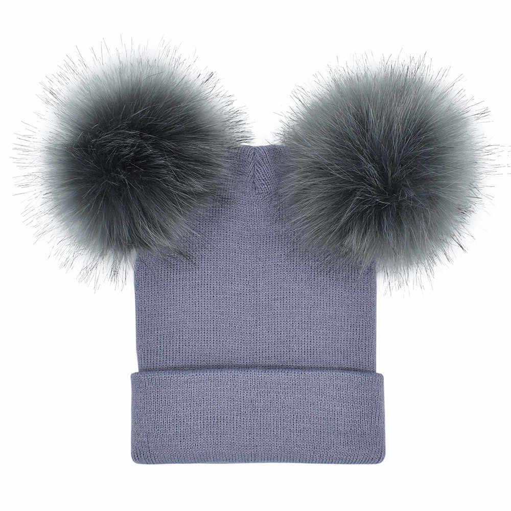Cute Rajutan Topi Wanita Musim Dingin Hangat Beanies Crochet Merajut Double Faux Bulu Salju Topi Hip Hop Pom Beanie Topi Topi skullies Wanita