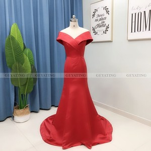 Image 5 - Elegant Off the Shoulder Burgundy Arabic Evening Dress Mermaid Long Satin Women Plus Size Formal Party Gowns Dubai Prom Dresses