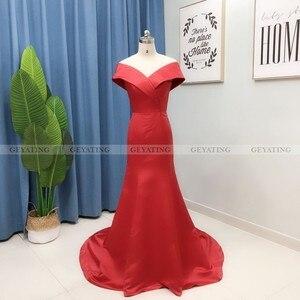 Image 5 - Robe de soirée en Satin, couleur arabe élégante, épaules dénudées, tenue de soirée élégante, style sirène, robe longue, grande taille, robe de bal dubaï