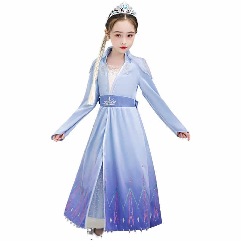 Girls Elsa 2 White Dress Princess Costume Mesh Skirt Snow Queen Long Sleeves Outfit Fancy Up Dresses for Kids