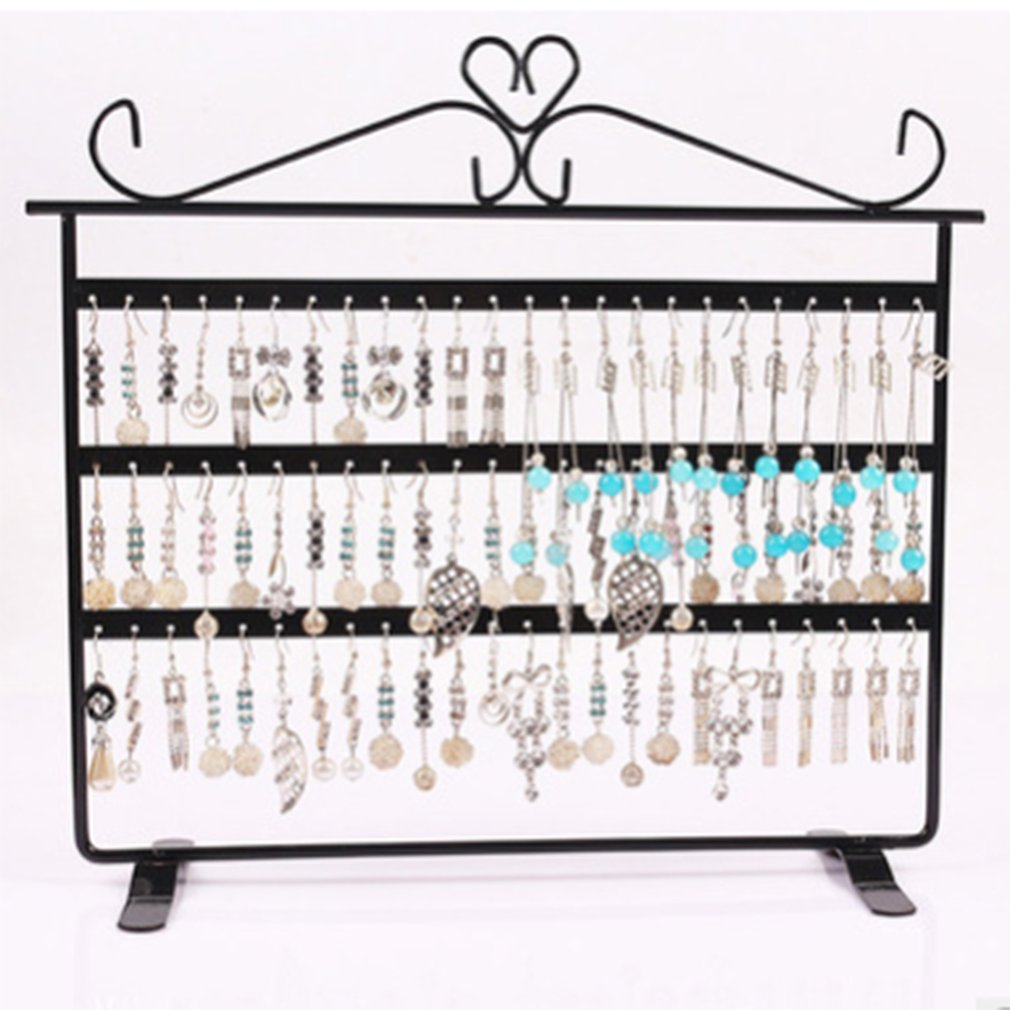72 Holes Earrings Ear Studs Display Holder Stand Showcase Metal Jewelry Organizer Rack Flat Earring Holder