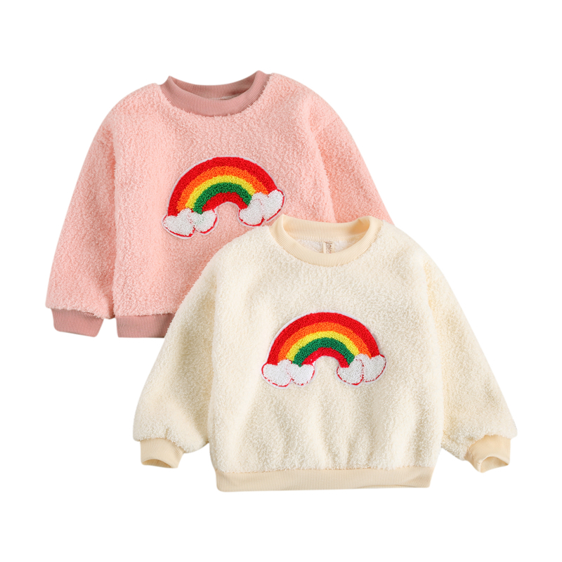 2021 Baby Girl Hoodies Pullover Autumn and Winter Rainbow Pattern Long Sleeve Round Neck Sweatshirts Fashion Girls Sweatshirts