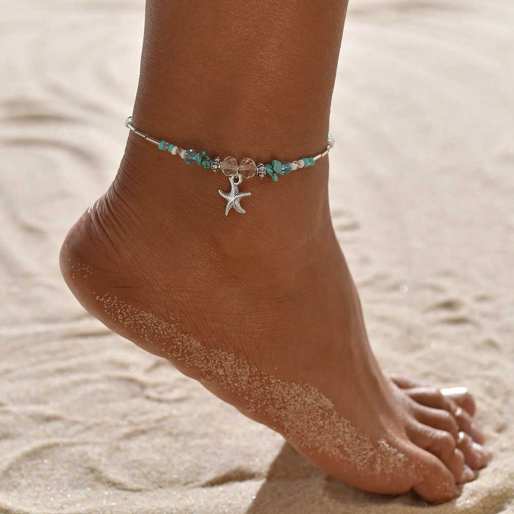Turtle Shell Starfish Pendant Anklets Women Stone Beads Shell Anklet Bohemian Bracelets On Leg Beach Ocean Jewelry Drop Shipping 2
