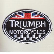 Triumph нашивки мотоциклы вышивальный значок для одежды 3,5*2,6 дюймов термоусадочная Накладка