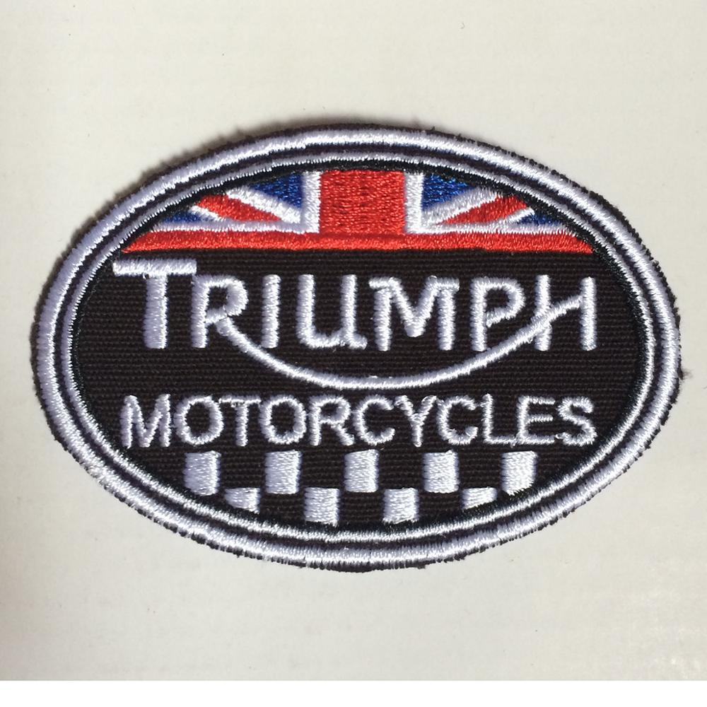 Triumph Patches Motorcycles Embroidery Badge For Garment 3.5*2.6 Inch Heat Cut Iron-on Backing Free Shipping