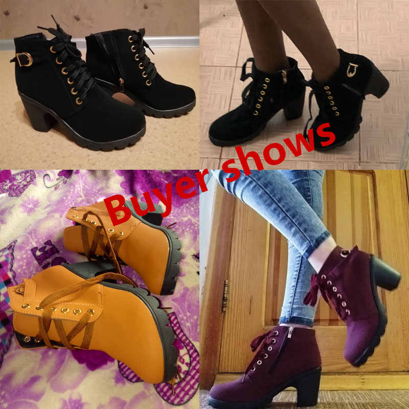 Bottines pour femmes 2019 nouvelles élégantes chaussures à talons carrés femme à talons hauts solide vintage bottes femmes chaussures à lacets dames