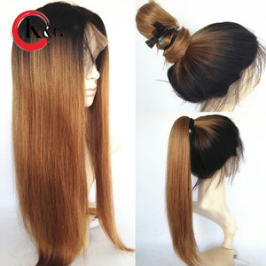 Image 3 - KunGang Ombre Color Lace Front Human Hair Wigs 1B/27 Straight Brazilian Remy 13*4 Human Hair Wig For Women Pre Plucked