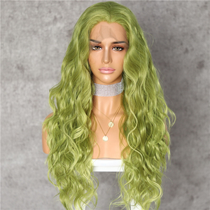 Image 2 - Lvcheryl Hand Tied New Green Color Hair Water Wave Hair wigs Heat Resistant Hair Wigs Synthetic Lace Front Wigs