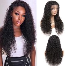 Синтетические волосы на кружеве человеческих волос парики для чернокожих Для женщин 13x4 Синтетические волосы на кружеве парик бразильский глубокая волна волос парик предварительно вырезанные с детскими волосами