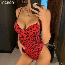 INGAGA-bañador de realce de una pieza para mujer, traje de baño de leopardo con espalda en U, ropa de playa de corte alto fusionado, 2021