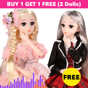 2PCS 1/4 SD BJD Doll 18 Ball Jointed Dolls With Full Outfit Clothes Shoes Wig Hair Makeup Best Gift For Girls Children Toys