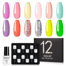 ROSALIND Gel Polish Set Alle für Maniküre Set Nail art Design Reine Farbe professionelle UV top basis mantel Gel Nagel polnischen Set kit(China)