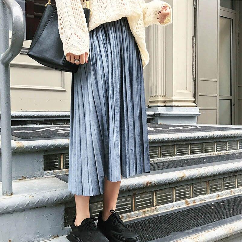 Autumn Winter 2019 Women Long Metallic Silver Maxi Pleated Skirt Midi Skirt High Waist Elascity Casual Party Skirt Vintage Falda