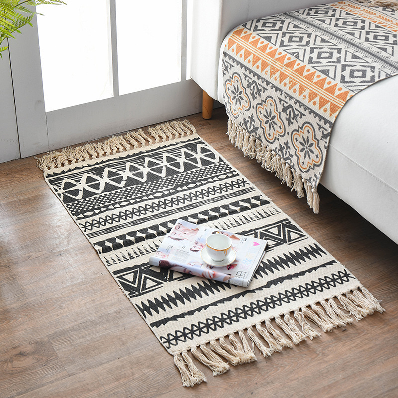 Boho Carpet National Wind Cotton Linen Mat Retro Plain Color Tapestry Handmade Carpet Library Bedroom Sofa Mat