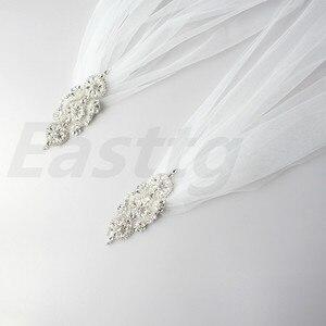Image 4 - ホワイトアイボリーシャンパンウェディングアクセサリーダイヤモンドトップ岬ブライダルショール大聖堂の長さチュールロングベールケープマントショール