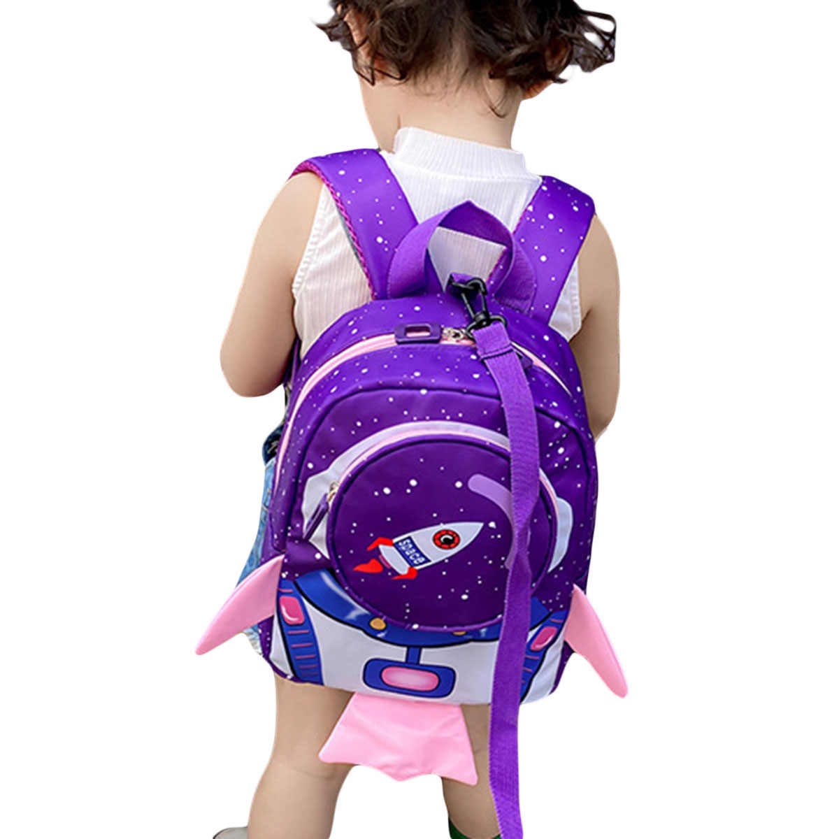 Kleinkind Infant Baby Junge Mädchen Schule Tasche Raum Rakete Print Kindergarten Rucksack Kid Umhängetasche Nette