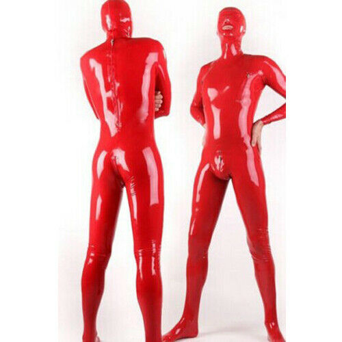 Latex Full Catsuit 100% Rubber Hood Tight Pure Men Red Sexy Clubwear Size S-XXL