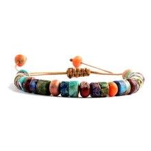 ZMZY разноцветный браслет ручной работы в стиле бохо с натуральными камнями, браслет с чакрами, браслеты с бусинами-барабанами для женщин/муж...