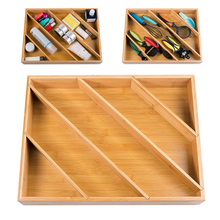 Bamboo Cutlery Silverware Flatware Utensil Tray Drawer Kitchen Organizer Storage Adjustable Home Utensils Divider