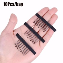 Combs Hair-Extensions Clips Wig Factory-Supply Black for Stainless-Steel 10pcs Wig-Caps