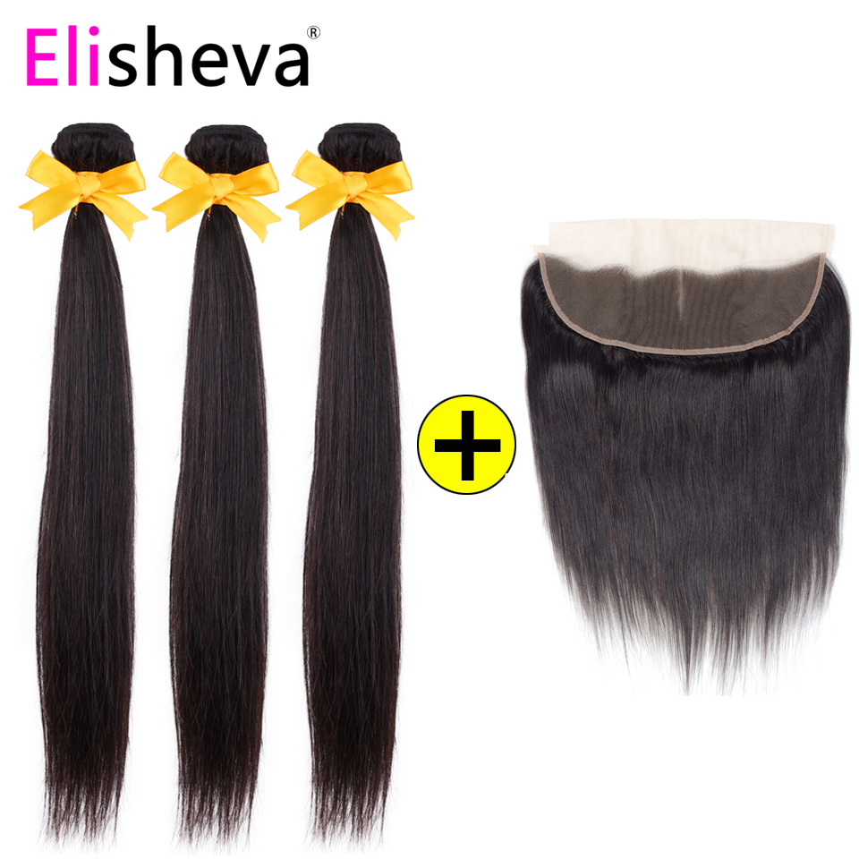 Elisheva Brazilian Human Hair Bundles With Frontal Natural Color Close To 1B Remy Straight 3/4 Bundles With Ear To Ear Frontal