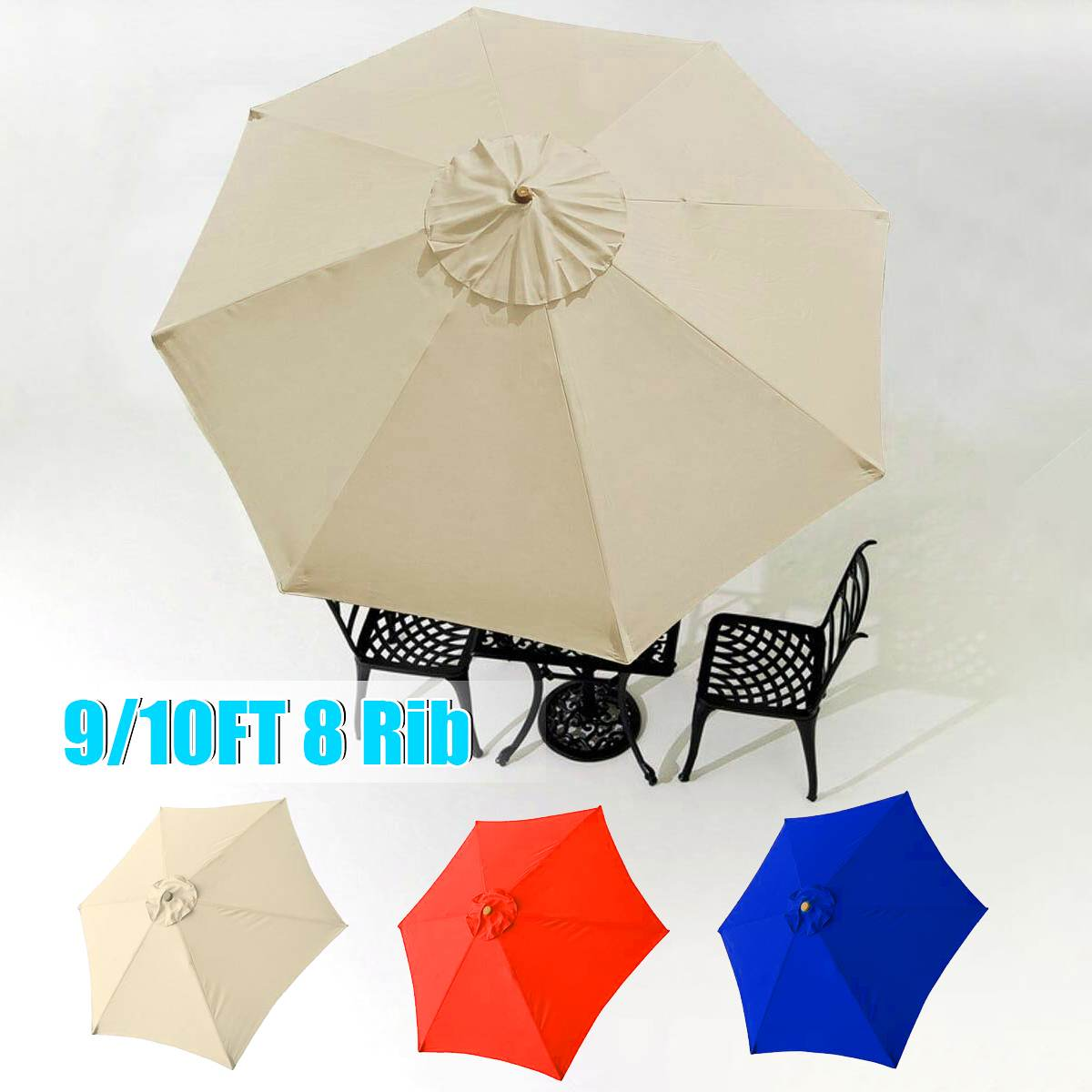 Patio Umbrella Top Canopy Replacement Cover Fit 9/10' 8 Rib Garden Outdoor Market Beach Waterproof Canopy Sun Shelter Cover
