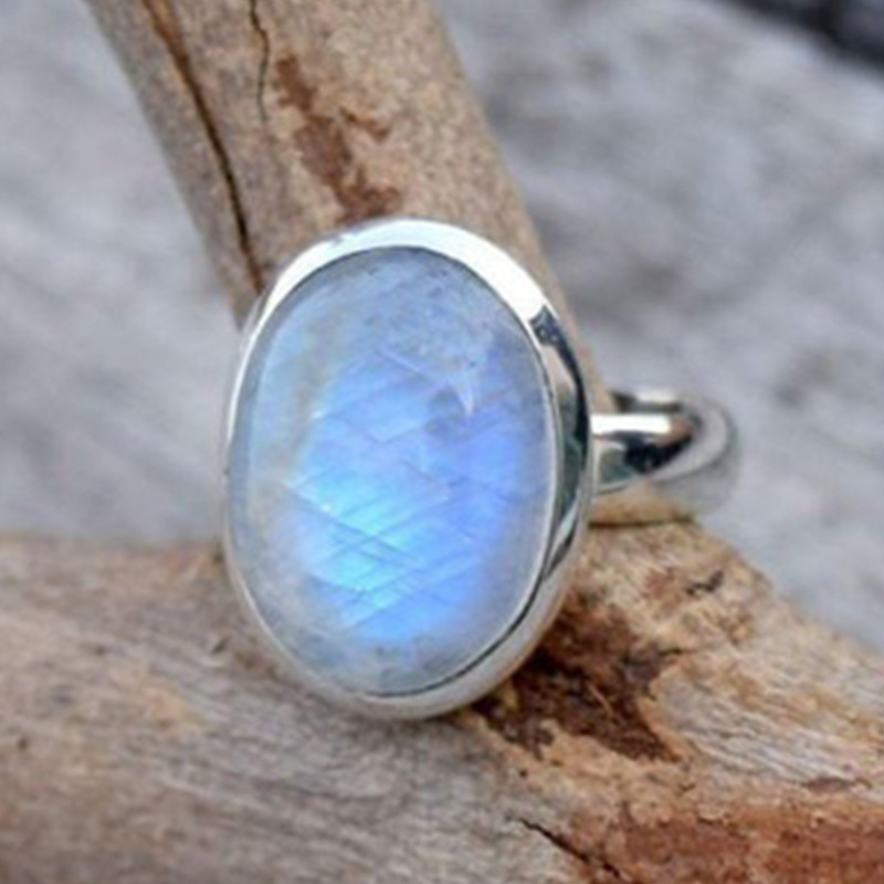 Retro Large Oval Moonstone Rings For Women Boho Jewelry Punk Women Engagement Ring Wedding Party Gift