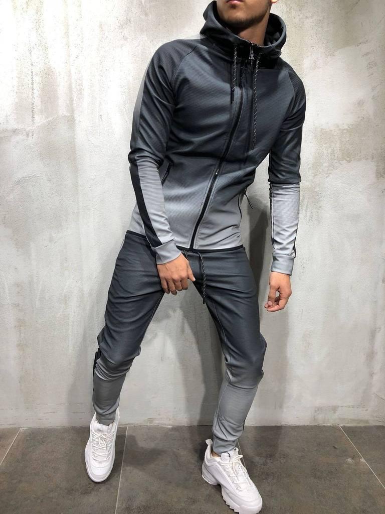 Zipper Tracksuit Men Set Sporting 2 Pieces Sweatsuit Men Clothes Printed Hooded Hoodies Jacket Pants Track Suits Male