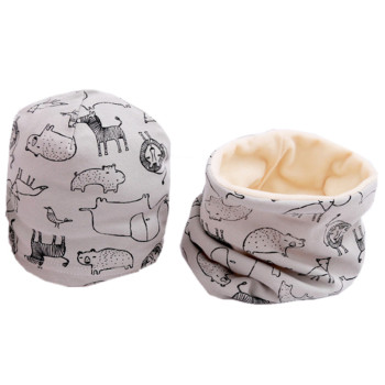 Cartoon Printed Baby's Cotton Hat and Scraf Set 2