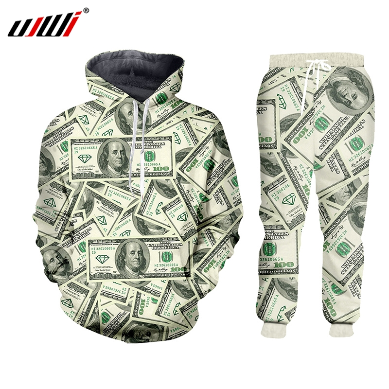 UJWI 3D Harajulu New Funny 3D Money Pattern 100 Dollar Print Sweat Suits Sweatshirt+sweatpants Women/men Joggers Sportsuits 7XL