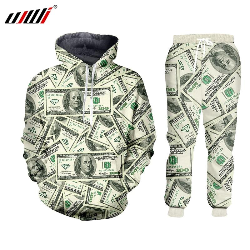 UJWI 3D Harajulu New Funny 3D Money Pattern 100 Dollar Print Sweat Suits Sweatshirt+sweatpants Women/men Joggers Sportsuits 7XL