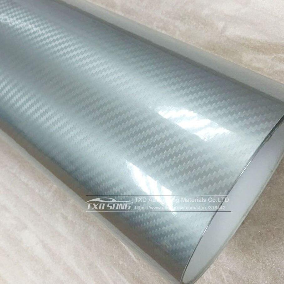 Высокое качество ультра-синий глянец 5D углеволоконная виниловая Обёрточная бумага 4D текстура супер глянцевая 5D углерода Обёрточная бумага s с 10/20 Вт, 30 Вт/40/50/60X152 см - Название цвета: Silver 3D texture