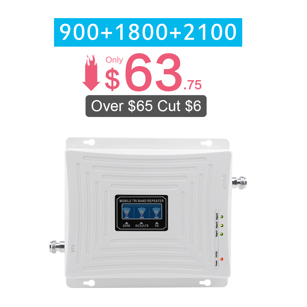 GSM 900 DCS 1800 WCDMA 2100 MHz Cellular Signal Booster 70dB Gain 2G 3G 4G Tri Band Mobile Signal Repeater GSM B1 B3 Amplifier