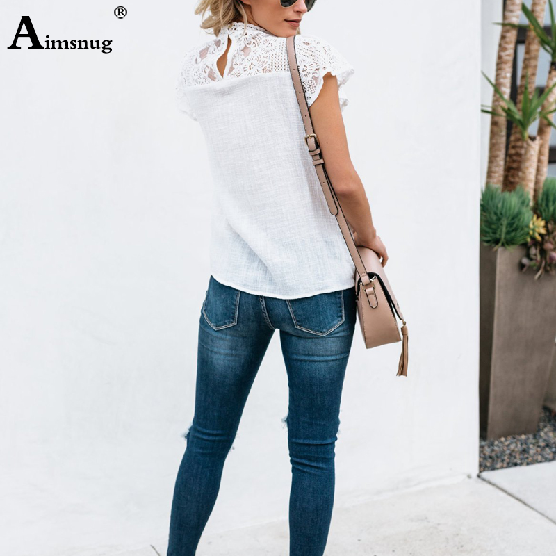 H81ee2360f2ba4345a925cce434b916e7l - Aimsnug Women White Elegant T-shirt Lace Patchwork Female O-neck Hollow Out Shirt Summer New Solid Casual Women's Tops